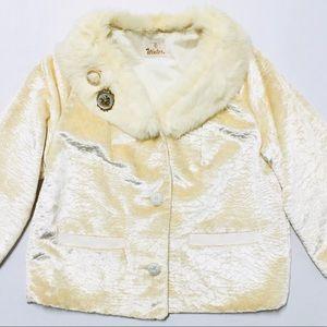 Vintage velvet cropped fur coat 50s 60s jacket L